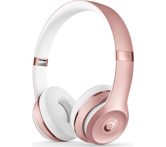 caeau de noel pour ado de 15 ans fille, écouteurs wi fi en rose gold pour les mélomanes, idée classique