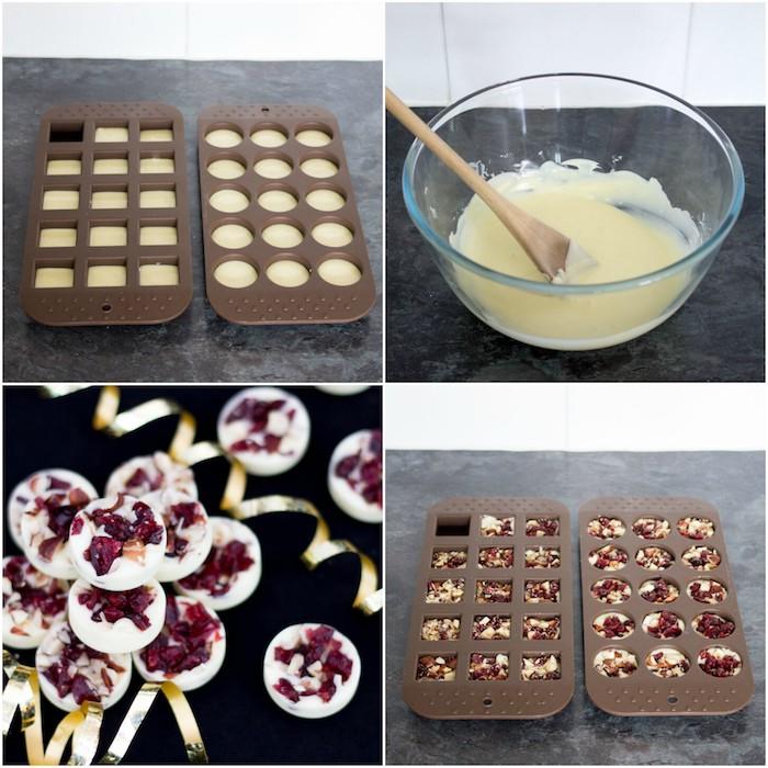 comment faire des bonbons de chocolat blanc dans une moule avec des canneberges séchées, dessert de noel facile