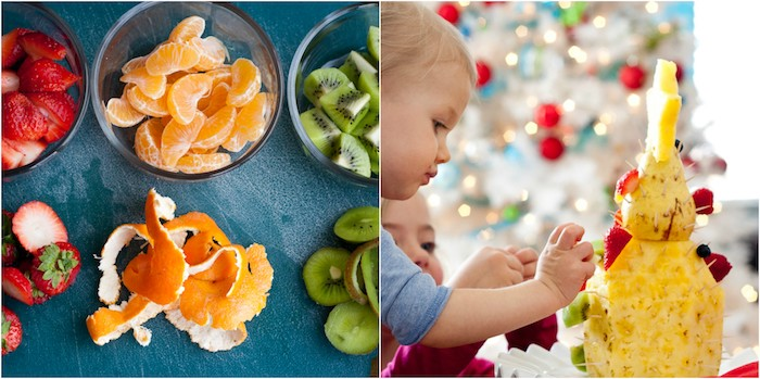 exemple de dessert leger noel, un sapin de noel et ananas et poire décoré de fraises, clémentines, kiwi, ananas, mures, myrtilles et autres fruits