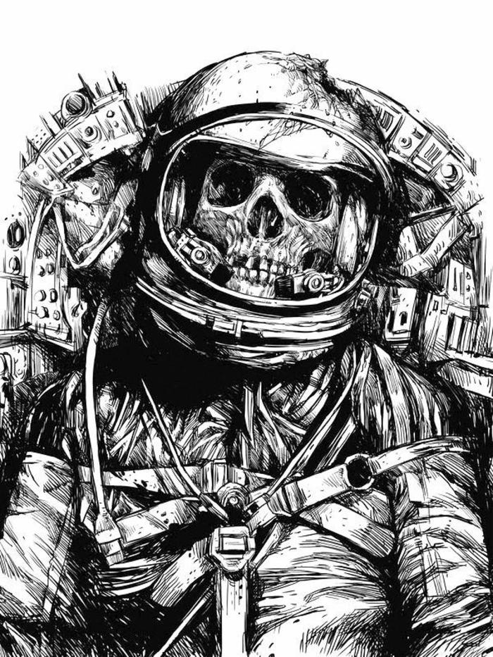 Image de dessin cheval noir et blanc dessin fantastique noir et blanc astronaute crane interessant dessin