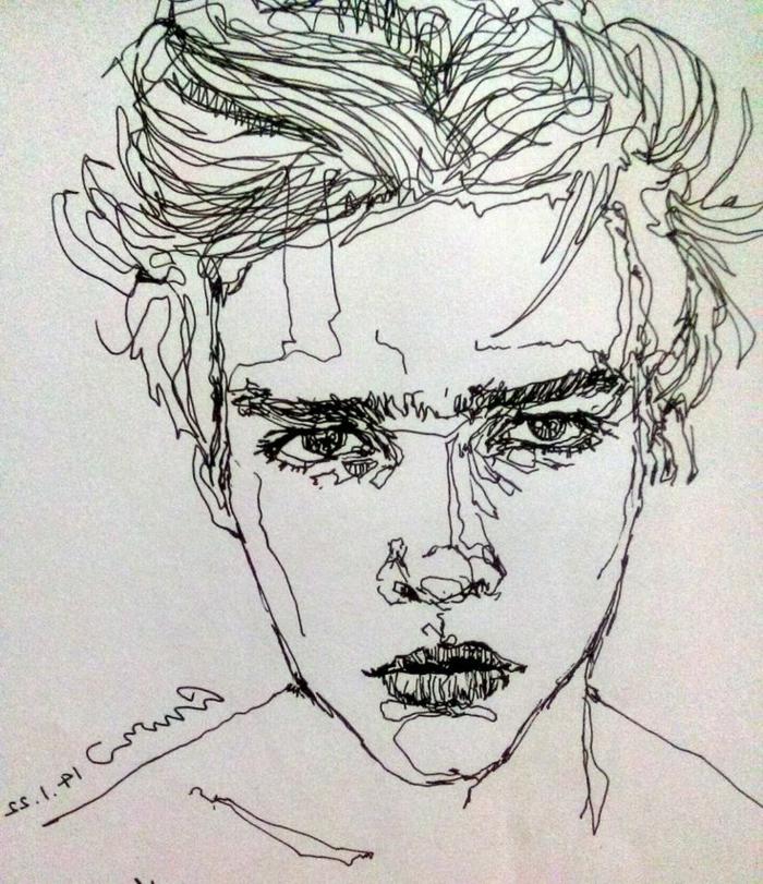Beau dessin paysage noir et blanc idée dessin à faire soi même homme un ligne dessin