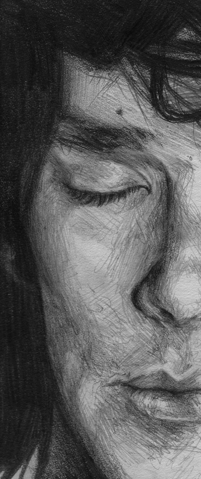 Tableau dessin noir et blanc dessin crayon blanc sur papier noir Benedict Cumberbadge dessin noir et blanc