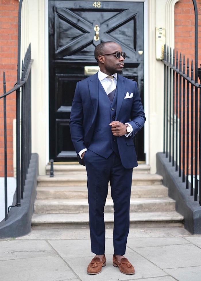 comment s habiller pour un mariage costume de marié 3 pièces smoking homme bleu nuit