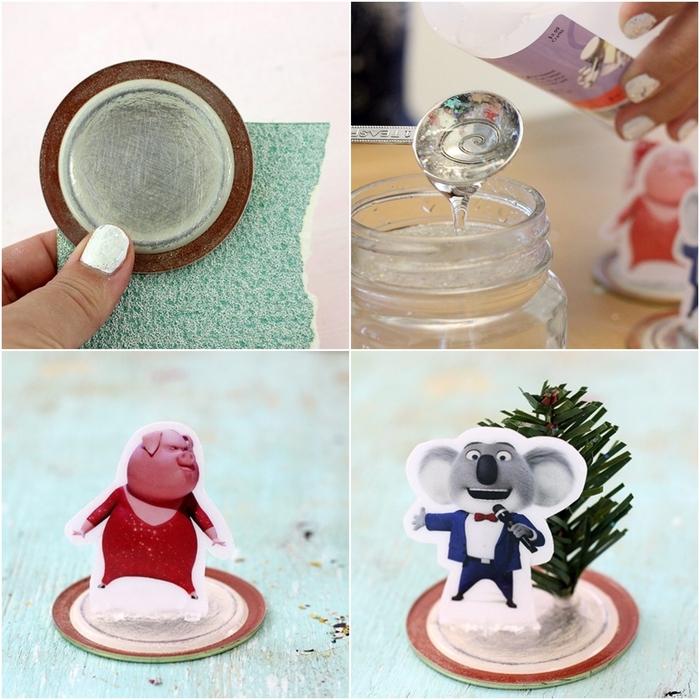 activités manuelles noel pour les petits fans de l'animation tous en scènes avec des personnages en carton à l'intérieur des bocaux en verre remplis d'eau et de glycérine
