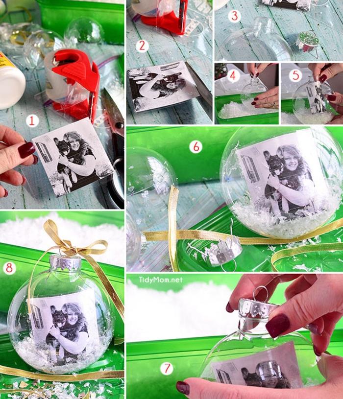 décorations de noël à faire soi-même pour réaliser des ornements boules transparentes avec photo à l intérieur