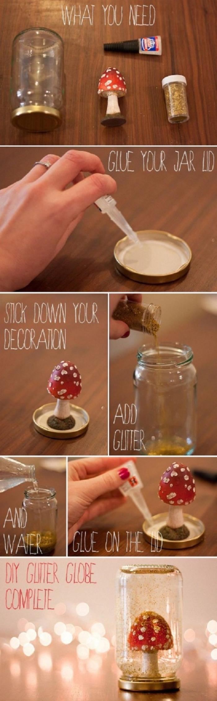 tuto facile poir faire une boule à neige à motif forêt enneigée avec un bocal en verre, de l'eau et de la glycérine