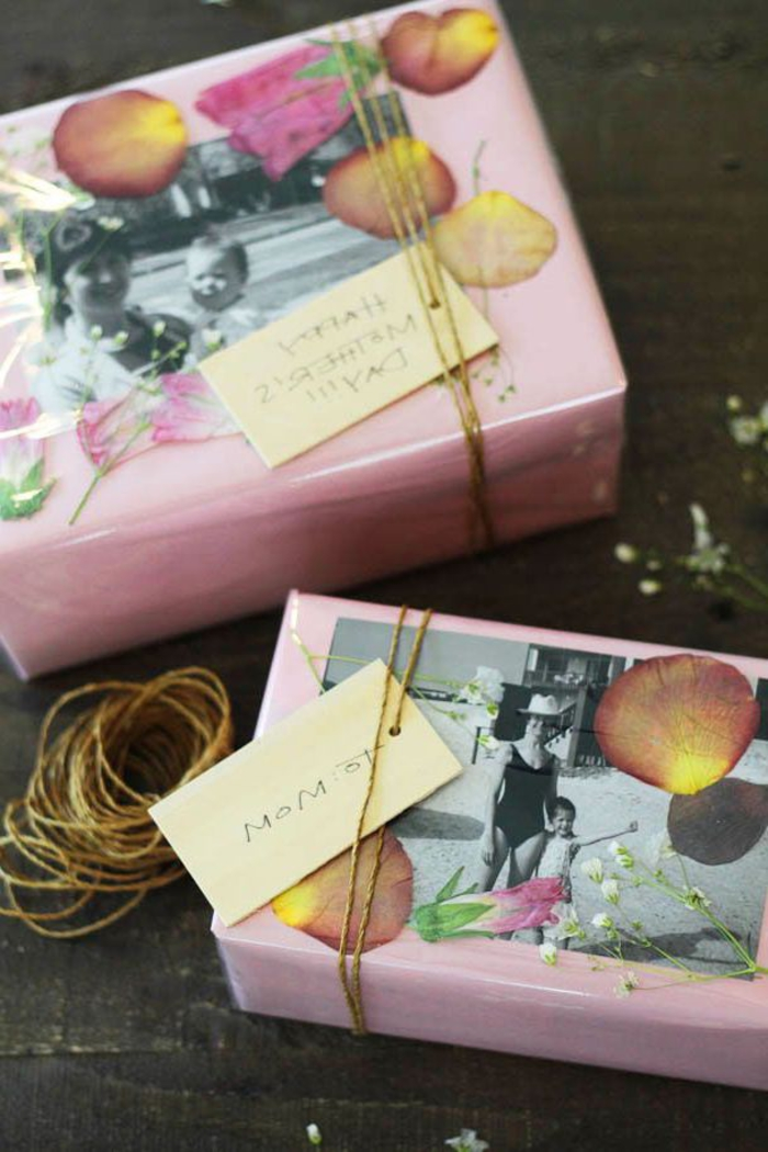 une activité originale pour la fête des mères, pour réaliser un emballage cadeau doux et féminin avec les pétale d'une rose séchée
