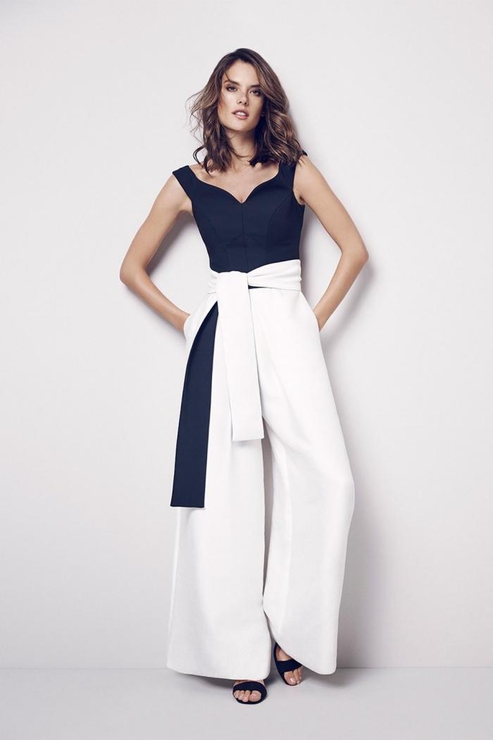 tenue de soirée femme pantalon pour mariage, combinaison blanc et noir combinée avec sandales noires