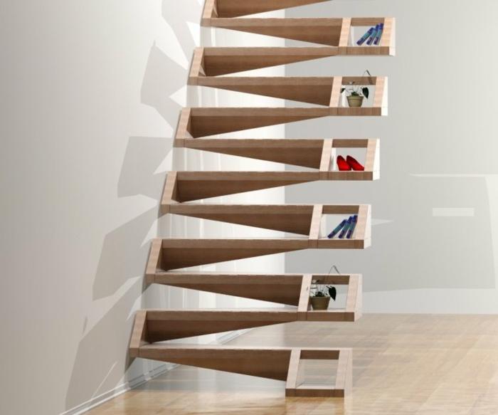 escalier bois clair avec des marches en forme d'étagères en zig zag, objets déco posés dans les espaces de rangement, escalier design, sol recouvert de parquet en bois PVC clair