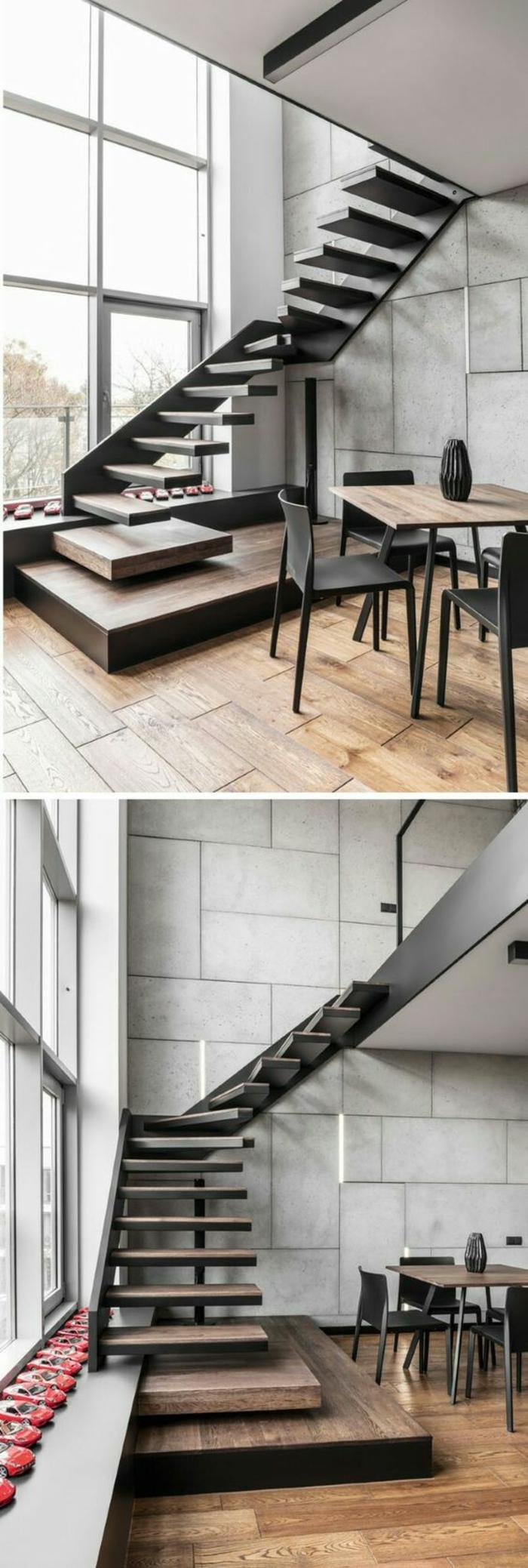 escalier moderne, escalier flin, en métal noir, murs gris, sol recouvert de parquet PVC, marches sans garde corps