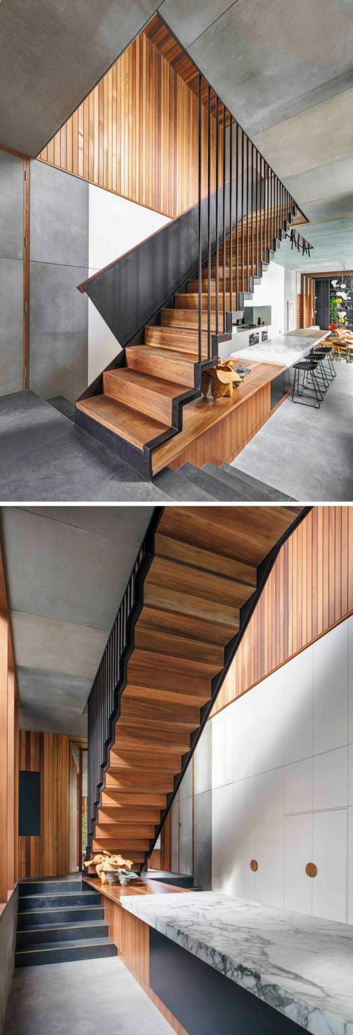 escalier moderne, escalier bois, en couleur chaude avec parties en métal noir, escalier sans limon central, escalier interieur