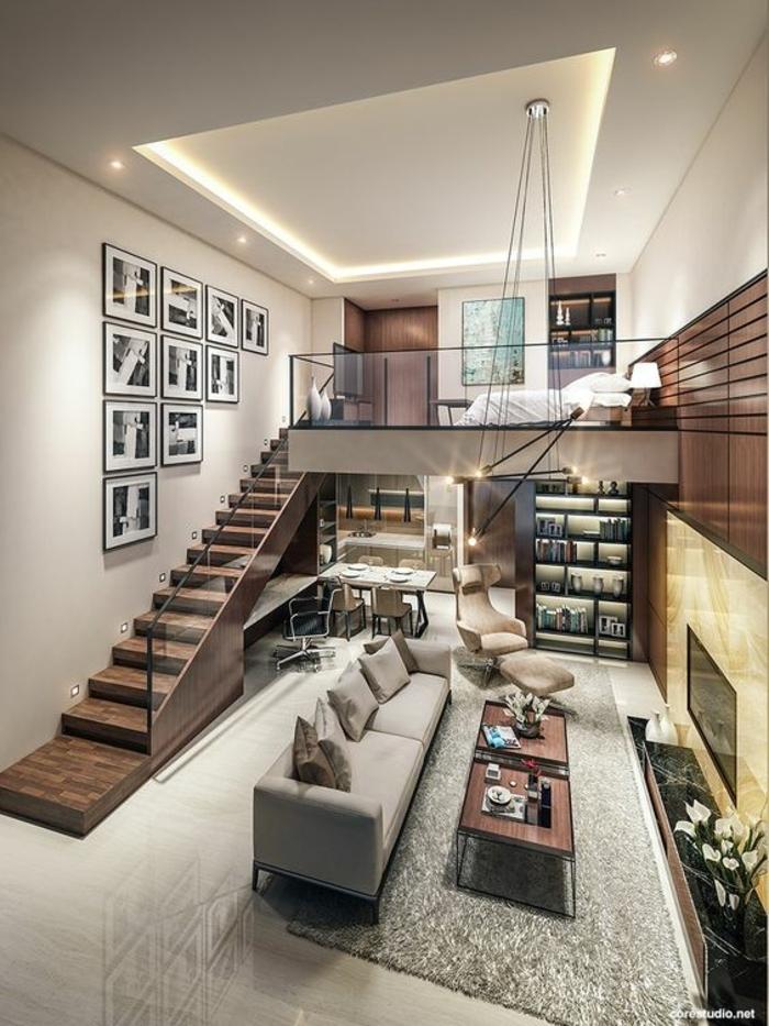 escalier mezzanine, chambre à coucher au-dessus du salon, design impressionnant