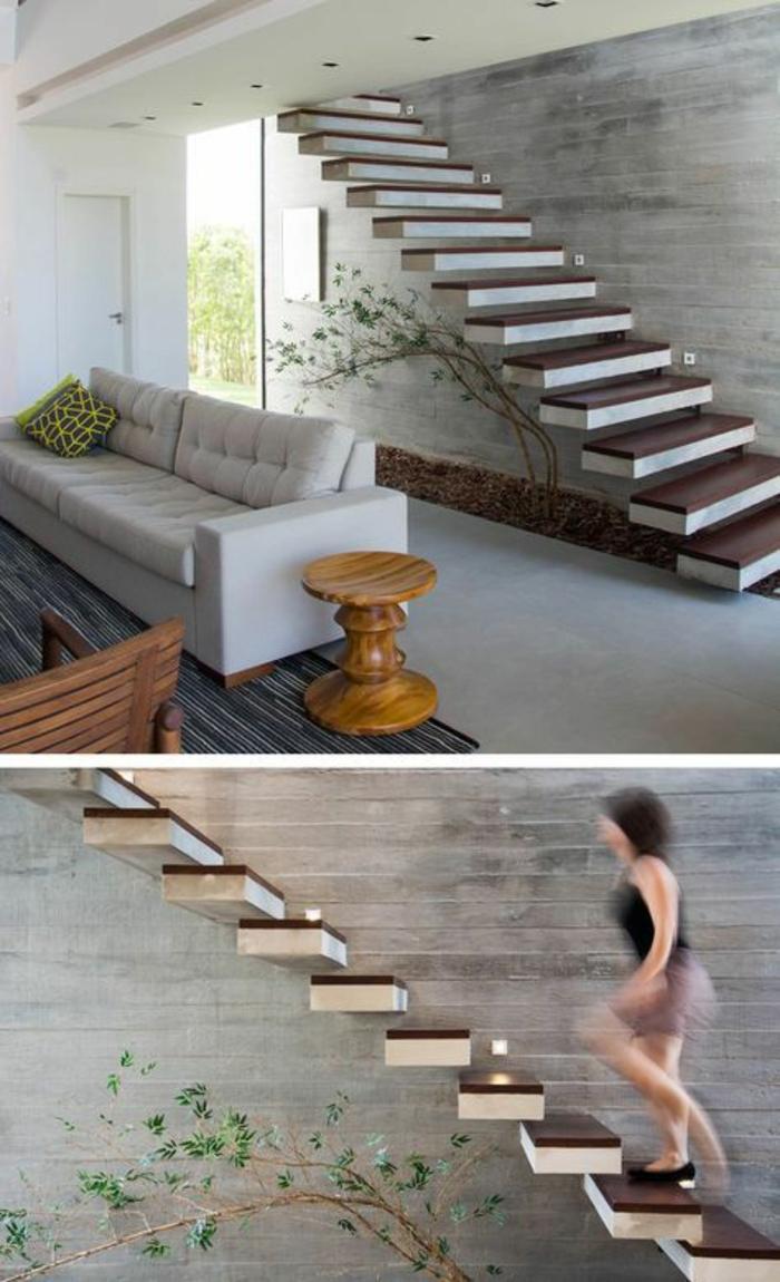 escalier design, escalier moderne avec des marches bicolores suspendues, ambiance industrielle avec des murs en gris, grand canapé couleur colombe