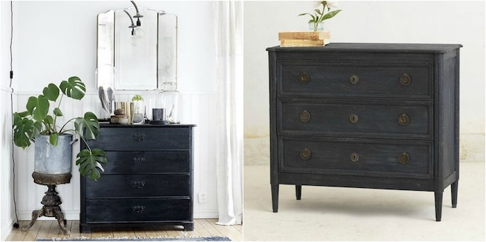 meuble ancien peint en noir cool peindre un meuble ancien ide peinture bton cir adhsif tadelakt. Black Bedroom Furniture Sets. Home Design Ideas