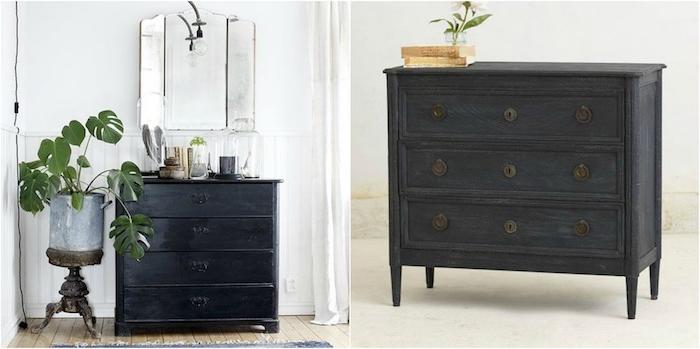 meuble repeint en noir, idée de commode vinage chic pour une ambiance retro, plante verte, miroir