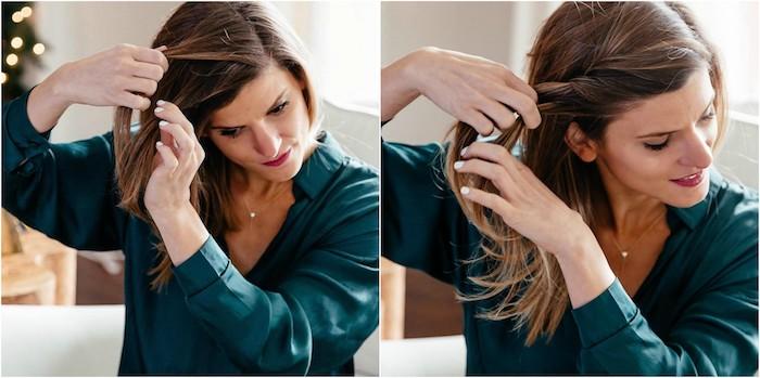 exemple de coiffure noel, une tresse de côté sur des cheveux mi long à combiner avec un chignon décoiffé