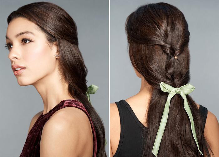 coiffure facile cheveux longs, mèches de devant entortillées et accessoirisées d un ruban vert, look élégant