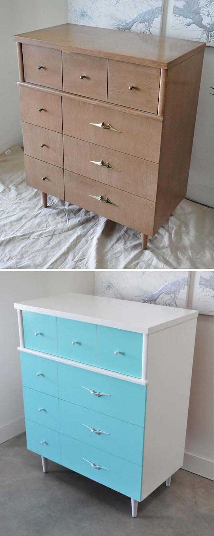 meuble relooké avan apres, une commode en bois repeint en blanc et façade bleue avec des poignées vintage
