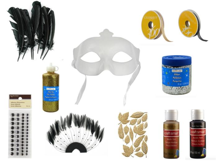 carnaval de venise, matériaux pour faire un masque de carnaval, masque en plastique avec embellissement pour bricolage
