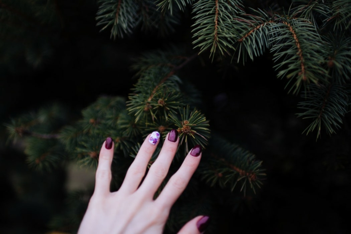 Formidable matte nails idée nial art nail aet nail mate Noël manucure idée simple fleurs matte rouge bordeaux