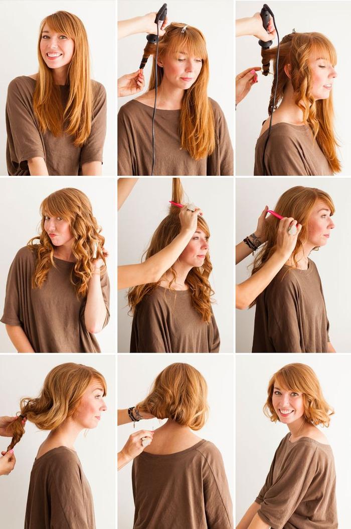 tuto coiffure annee 50 pour créer un faux carré wavy de style rétro chic avec une mèche de côté