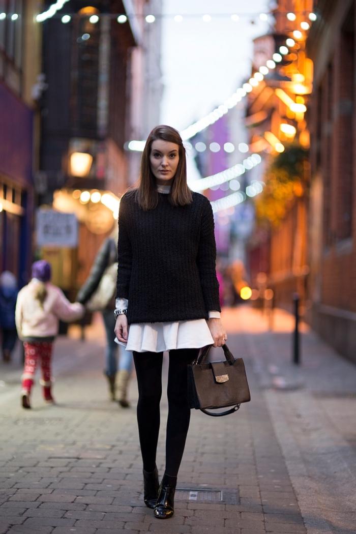 trouver son style vestimentaire, s'habiller en blanc et noir avec style, tenue en couches avec chemise tunique blanche et pull noir