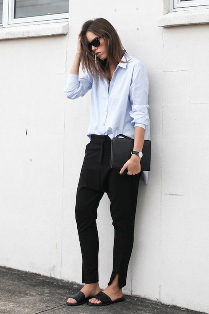 Tenues chic femme tenue chic et classe femme beauté et mode pantalon noir chemise bleu claire