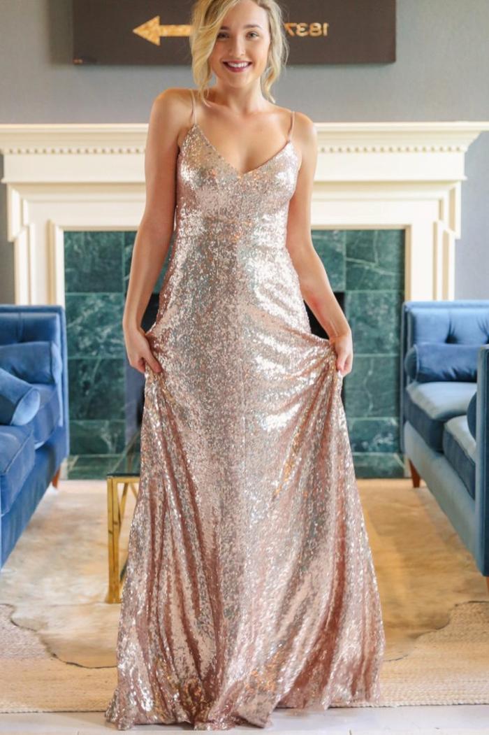 Belle robe manche longue robe nouvel an femme bien habillée longue robe paillettes