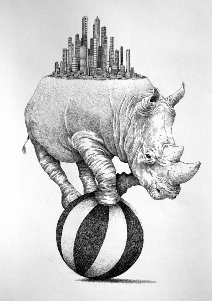 Idée dessin rhinocéros porte ville moderne sur son dos noir et blanc dessins noir et blanc