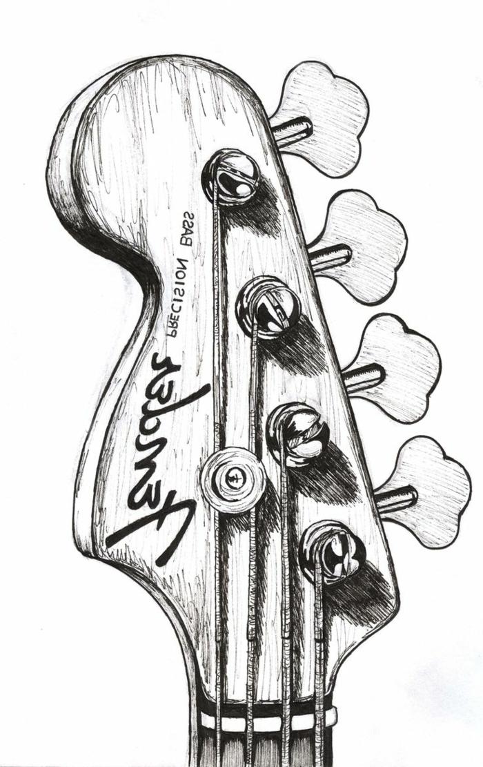 Oeuvre d art dessin noir et blanc femme à dessiner simple noir et blanc guitare bien dessiné