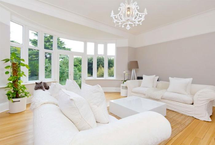 deco salon gris et blanc, peinture taupe claire sur les murs, canapés et coussins décoratifs blancs, parquet clair, table basse blanche, lustre élégant, plante verte