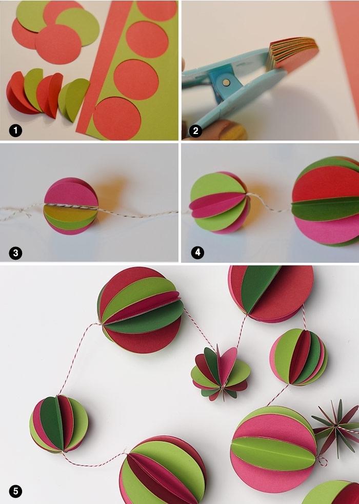guirlandes de noel, tutoriel avec les étapes à suivre pour faire une décoration simple de noel en papier