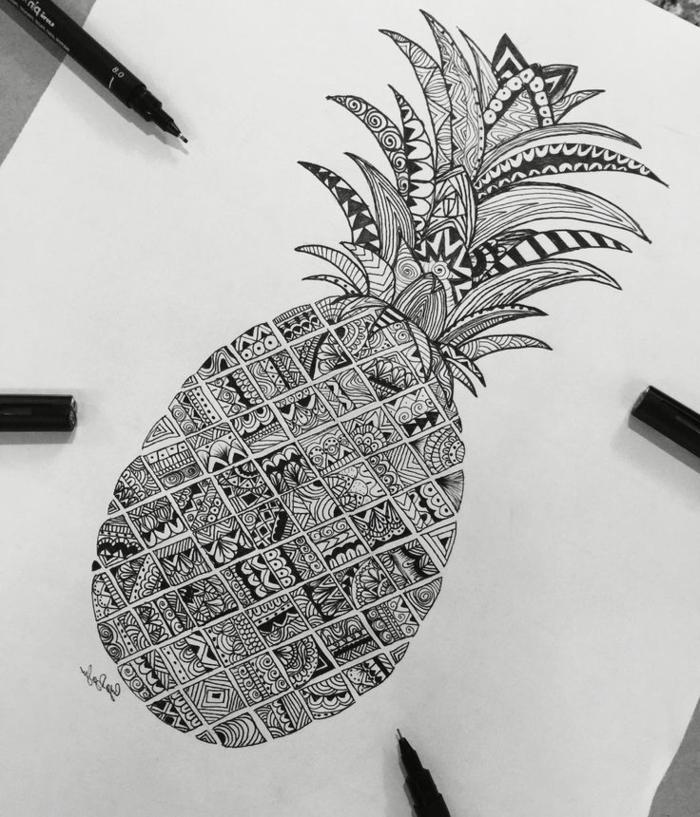 Style dessin super idée comment dessiner en noir et blanc image ananas géométriques formes