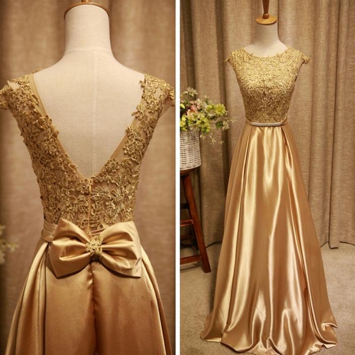 Tendance robe de bal dorée robe dorée longue photo tenue robe
