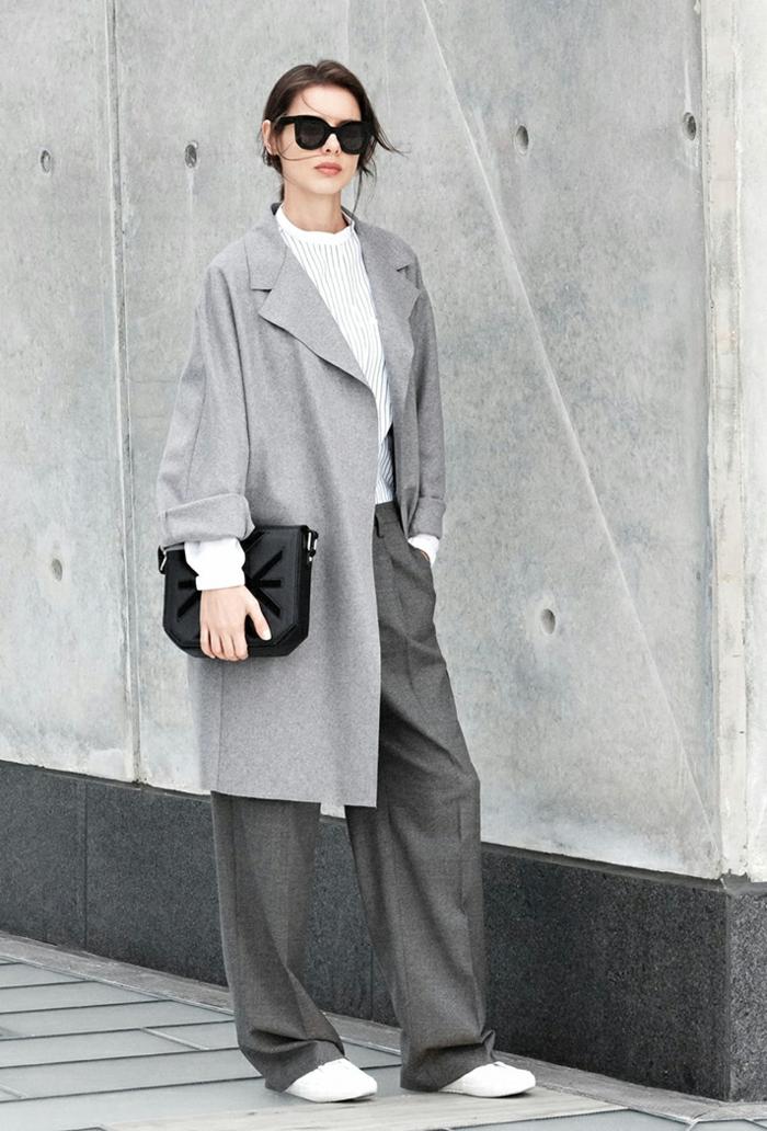 Idée tenue soirée pantalon look décontracté femme bien habillée tailleur gris manteau longue oversize swag tenue
