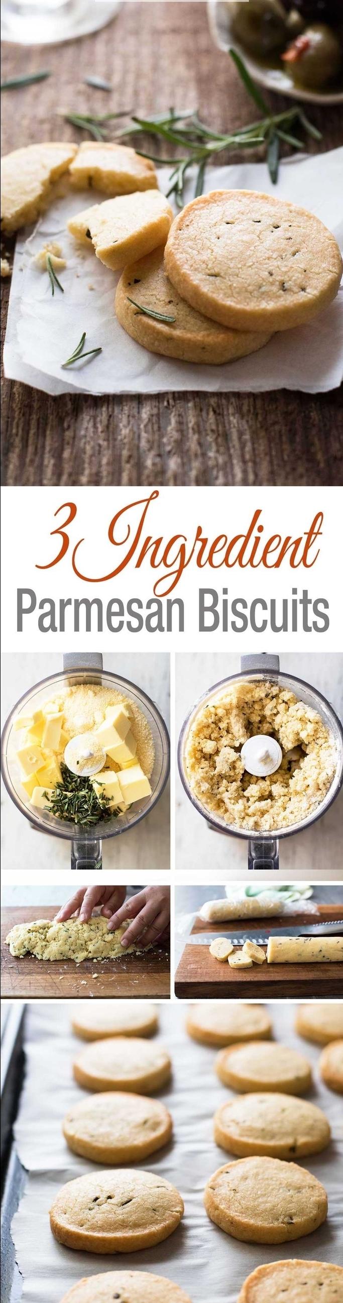 une recette végétarienne rapide à trois ingrédients de biscuits sablés au parmesan