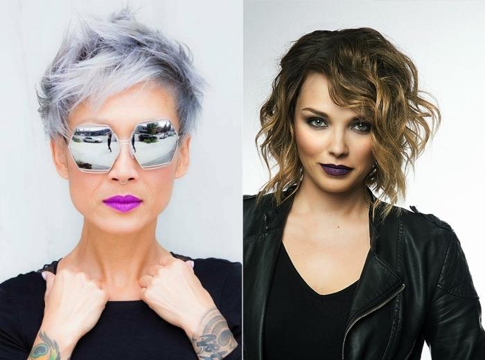 coupe courte tendance, femme aux cheveux courts peints en gris pastel, coupe de cheveux mi-longs et bouclés noirs avec pointes claires