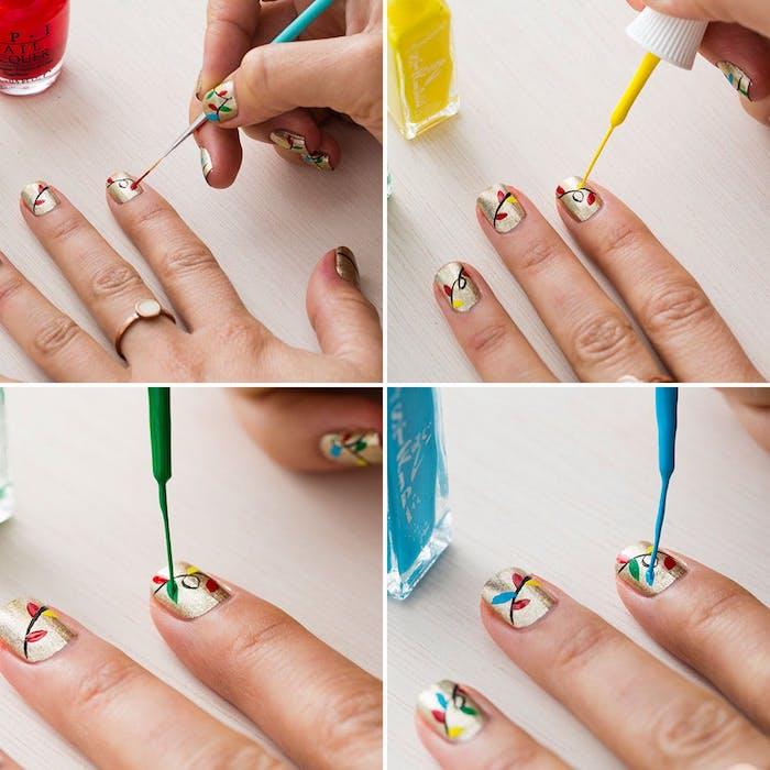 tutoriel pour faire un nail art noel, dessiner un motif guirlande lumineuse de noel colorée avec un vernis liner sur un fond or effet pailleté