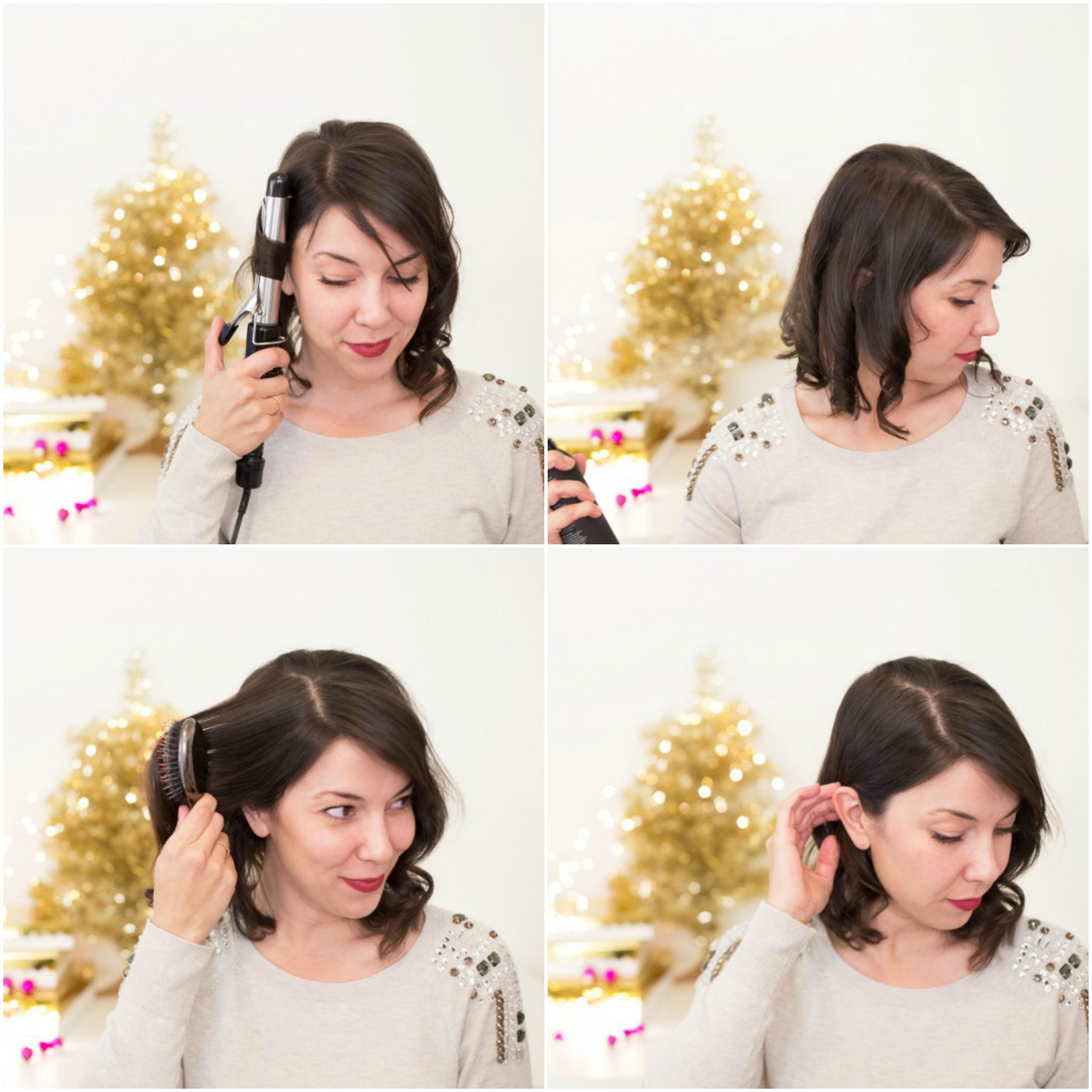 comment faire une coiffure de noel sur un carré plongeant ondulé avec une mèche derrière l oreille et accessoire cheveux