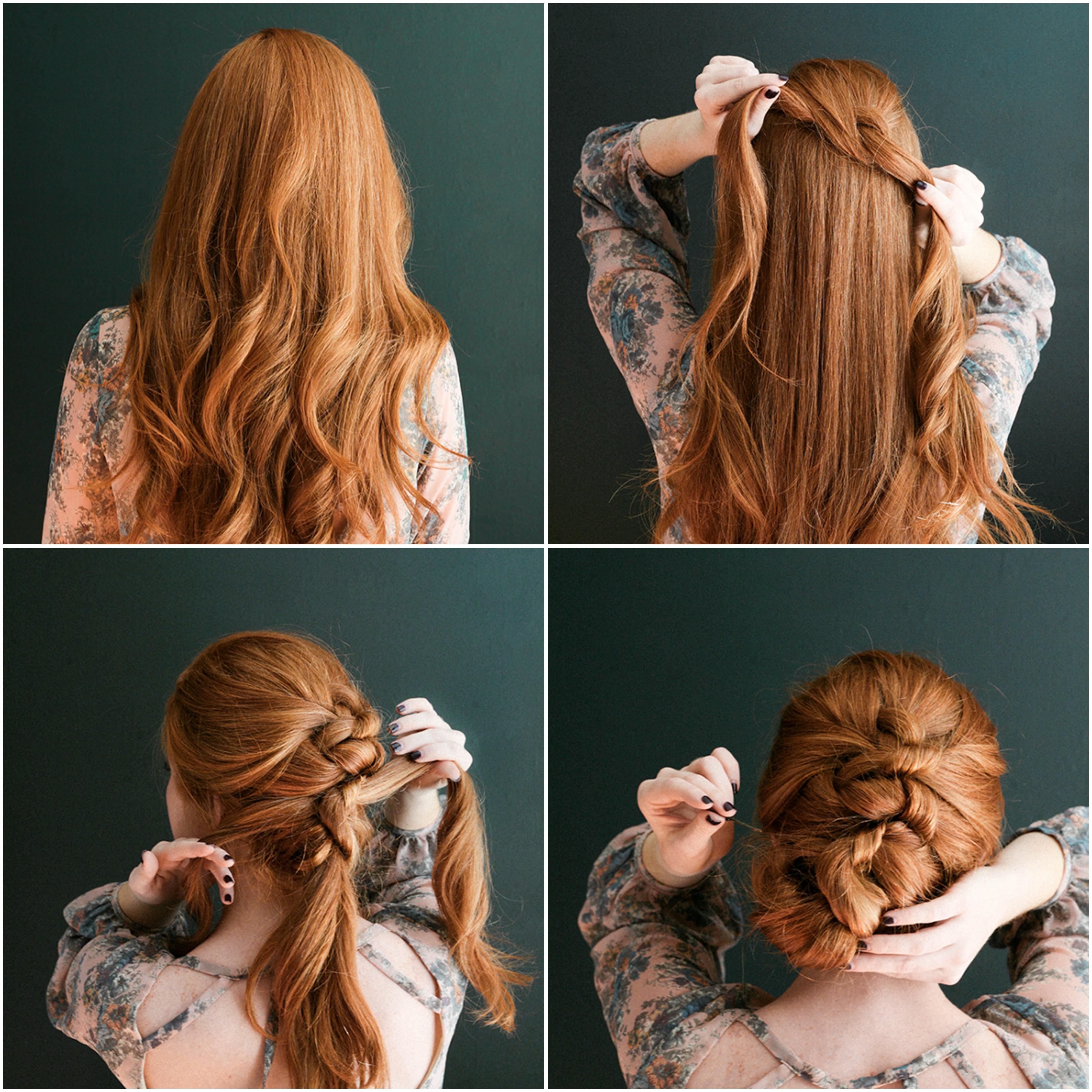 idée comment faire une coiffure tresse, tresse en noeuds, tutor pour réaliser une coiffure noel simple, cheveux longs