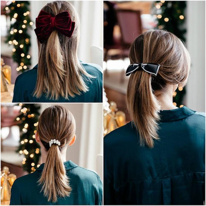 exemple de queue de cheval accessoirisée avec des noeuds et un élastique de noel, idée originale de coiffure noel