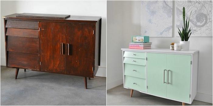 meuble relooké avant apres, un meuble de rangement repeint en vert menthe et blanc avec tiroirs et placards
