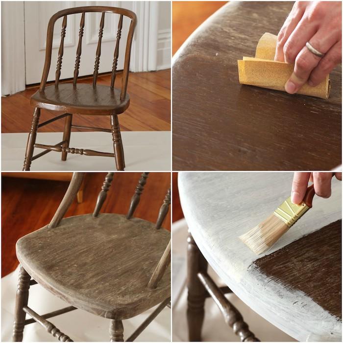 chaise relookée, idée comment repeindre un meuble en bois, poncer le bois et appliquer la primaire d accrochage