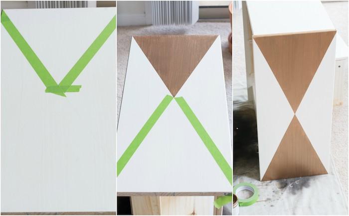 comment peindre un meuble avec du scotch peinture pour créer des motifs géométriques, triangles peinture marron à éclat doré