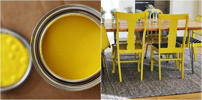 chaise relookée de peinture couleur jaune pour votre salle à manger avec table en bois, tapis gris et centre de table floral