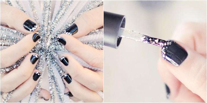 nail art facile de noel, fond de couleur gris mat et bout d ongle à vernis pailleté, guirlandes de noel gris