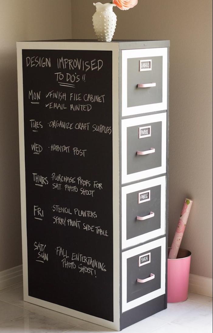 customiser meuble repeint de peinture pour meuble ardoise, programme, emploi du temps de la semaine écrit à la craie blanche