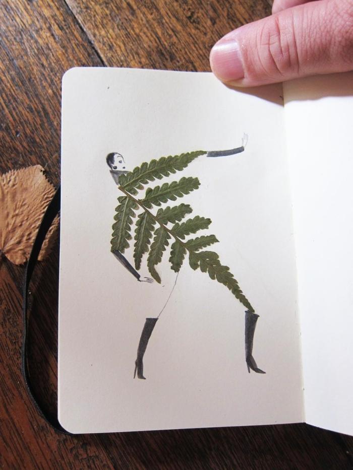 idée original pour un carnet de croquis avec de l'art floral à feuilles séchées et dessins