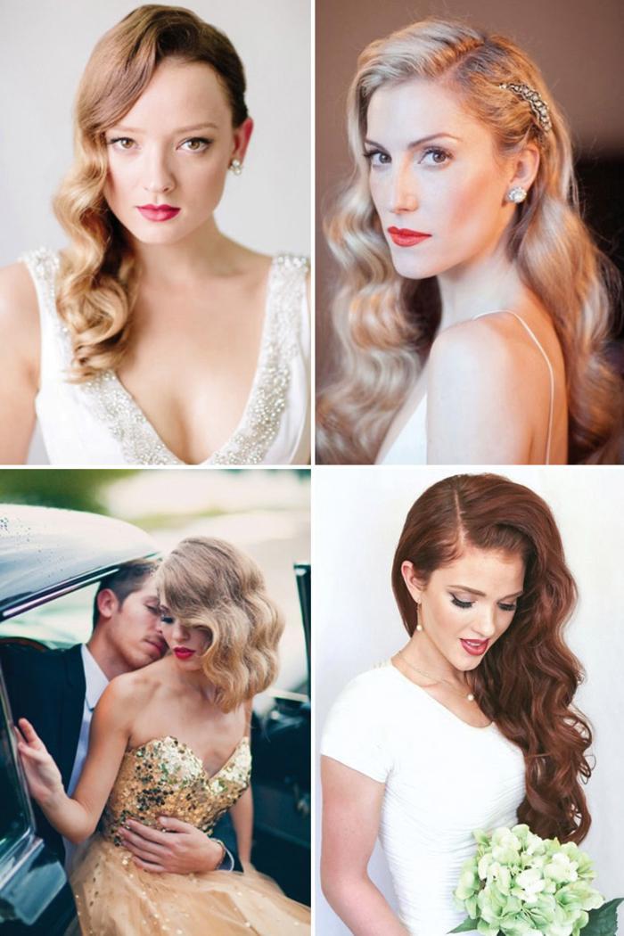 jolie idée pour une coiffure vintage de mariée cheveux détachés et ondulés façon star du cinéma hollywoodien