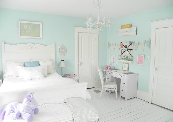 déco chambre enfant claire blanc vert bleu turquoise menthe glaciale